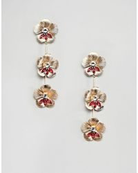 ASOS - Earrings In Floral Drop Design With Crystals In Gold - Lyst