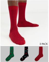 ASOS Ankle Sock With Christmas Glitter Thread Glitterball Print 3 Pack - Multicolour