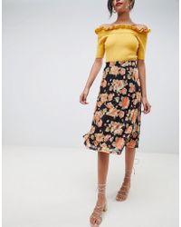 Vila - Floral Midi Skirt - Lyst