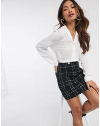 Miss Selfridge Dobby Tie Front Shirt - White