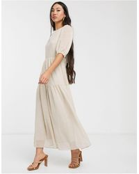 Glamorous Oversized Maxi Smock Dress With Tie Back - Natural