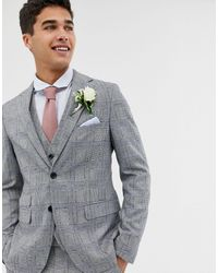 Moss Bros Moss London Skinny Suit Jacket With Check Boucle - Grey