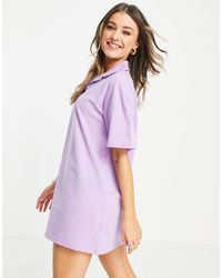 Lola May Short Sleeve Polo Shirt Dress - Purple