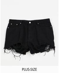 Missguided High Waisted Denim Shorts With Frayed Hem - Black