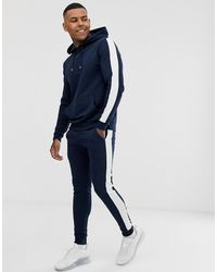 ASOS Tracksuit With Hoodie And Side Stripe - Blue