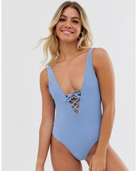 Jack Wills Himbledon Tie Back Swimsuit - Blue