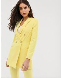 Stradivarius Longline Blazer Two-piece In Yellow