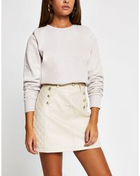 River Island Belted Quilted Faux Leather Mini Skirt - Natural