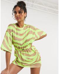 ASOS 4505 Сетчатое Платье-футболка Со Звериным Принтом -мульти - Зеленый