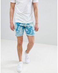 ASOS - Denim Shorts In Slim Teal Tie-dye - Lyst