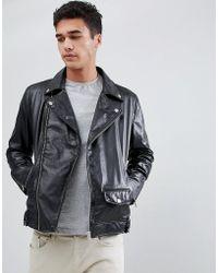 Barneys Originals - Real Leather Zipped Biker - Lyst