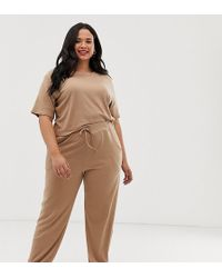 Boohoo Ribbed joggers Co-ord In Camel - Natural