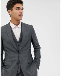 French Connection Prince Of Wales Check Slim Fit Suit Jacket - Gray