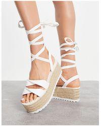 ASOS Tate Tie Leg Flatform Sandals - White