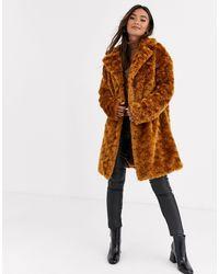 ASOS Fluffy Button Through Coat - Brown