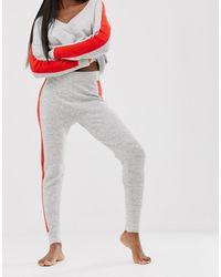 ASOS – Gestrickte Jogginghose mit Zierstreifen, Kombiteil - Grau
