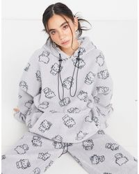 New Girl Order X Hello Kitty Fleece Hoodie With All Over Kitty Print Co-ord - Grey