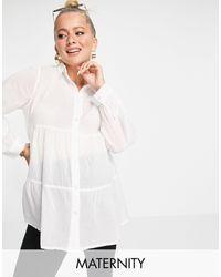 New Look - Camicia bianca con bottoni e orlo a balze - Lyst