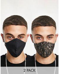 TOPMAN Confezione da 2 mascherine alla moda - Nero