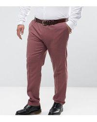 ASOS - Pantalones de vestir de corte ajustado de boda de 100% lana de merino en rosa de ASOS PLUS - Lyst