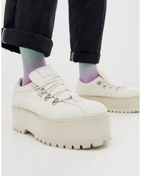 ASOS Lace Up Shoes In White Faux Leather With Platform Sole