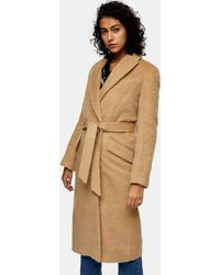 TOPSHOP Cappotto di lana con cintura color cammello - Neutro