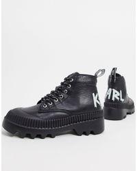 Karl Lagerfeld Черные Походные Ботинки С Логотипом -черный Цвет