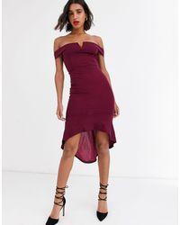 AX Paris Платье Миди С Открытыми Плечами -фиолетовый - Пурпурный