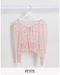 Miss Selfridge Shirred Waist Blouse - Pink