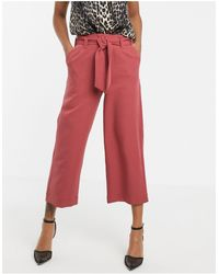 UNIQUE21 Tailored Tie Front Culotte Trousers - Orange
