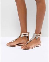 Public Desire - Kammie Rose Gold Embellished Toe Post Sandals - Lyst