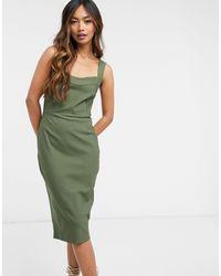 Vesper Облегающее Платье Миди Оливково-зеленого Цвета -зеленый