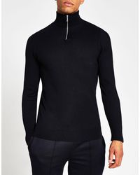 River Island Half Zip Slim Fit Sweater - Blue