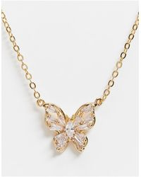 ASOS 14k Plated Necklace With Crystal Butterfly Pendant - Metallic