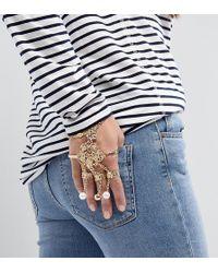 Monki - Encrusted Multi Ring And Chain Bracelet - Lyst