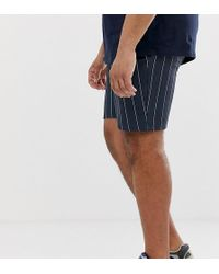ASOS - Plus Poly Tricot Skinny Shorts In Shorter Length With Navy Pinstripe - Lyst