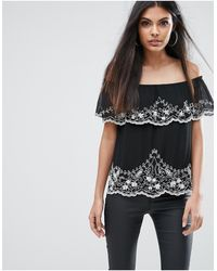 Lipsy Off Shoulder Top With Beading - Black