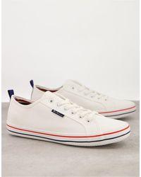 Ben Sherman Lace-up Canvas Logo Shoes - White
