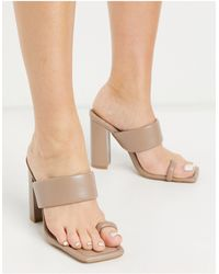 SIMMI Shoes Simmi London Tour Padded Mules With Toe Loop - Natural