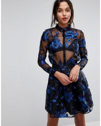 Y.A.S Floral Embroidered Sheer Blouse - Black