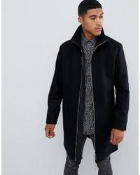 HUGO - Meskar Slim Fit Wool Overcoat With Ribbed Collar In Black - Lyst