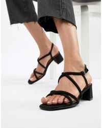 Bershka - Strappy Block Heel Sandal In Black - Lyst