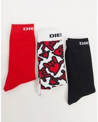 DIESEL Набор Из 3 Пар Носков Белого, Черного И Красного Цвета С Принтом -многоцветный - Красный