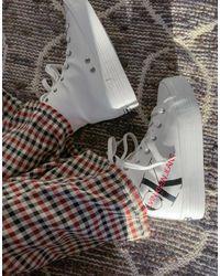 Calvin Klein Белые Высокие Кроссовки С Логотипом Jeans-белый