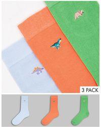 ASOS 3 Pack Dinosaur Embroidery Socks - Multicolor