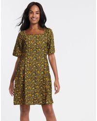 Blend She Платье Миди С Цветочным Принтом -многоцветный - Зеленый
