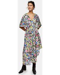 TOPSHOP Robe portefeuille mi-longue à imprimé floral - Multicolore