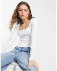 New Look – langärmliges oberteil - Weiß