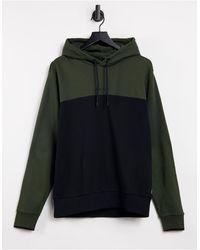 Calvin Klein Черно-зеленый Худи В Стиле Колор Блок С Логотипом Посередине -зеленый Цвет