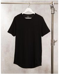 River Island Curved Hem Longline T-shirt - Black